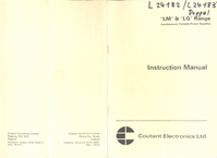 Service and User Manual CoutantElectronics LM 50/30