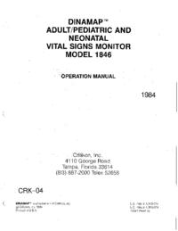 User Manual Critikon Dinamap 1846