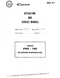 Service and User Manual Crown Pro-700