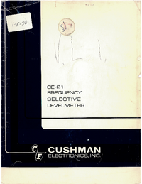 Service and User Manual Cushman CE-21