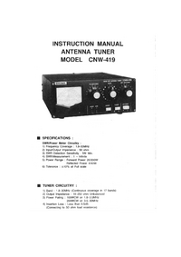 User Manual Daiwa CNW-419