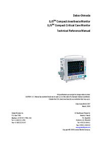 Manual de servicio DatexOhmeda S/5 Compact Critical Care Monitor