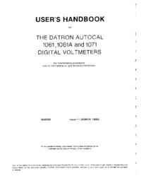 Manual do Usuário Datron 1071