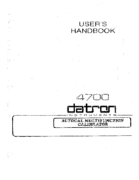 Manuale d'uso Datron 4700
