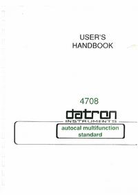 Руководство пользователя Datron 4708