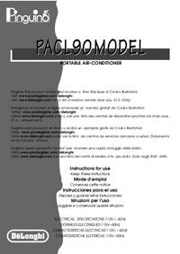 Manuale d'uso Delonghi PACL90