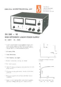 Service and User Manual DeltaElektronika EK 030-10