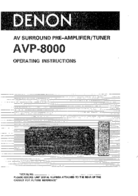 User Manual Denon AVP-8000