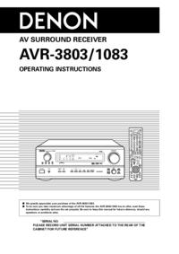 Manual do Usuário Denon AVR-3803