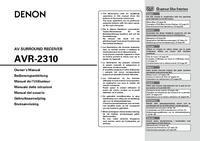 User Manual Denon AVR-2310