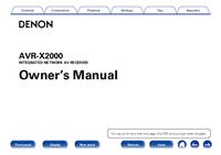 User Manual Denon AVR-X2000