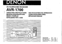 User Manual Denon AVR-1700