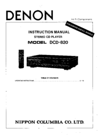 User Manual Denon DCD-820