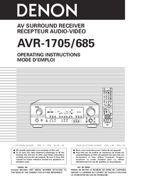 User Manual Denon AVR-1705