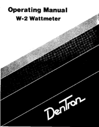 Service and User Manual Dentron W-2