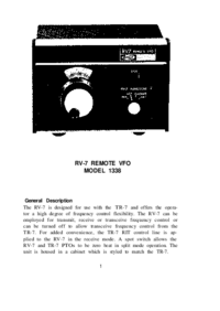 Service and User Manual Drake RV-7 MODEL 1338