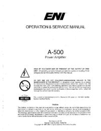 Service- und Bedienungsanleitung ENI A-500