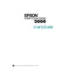 User Manual Epson Stylus COLOR 3000