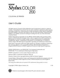 Bedienungsanleitung Epson Stylus Color 200