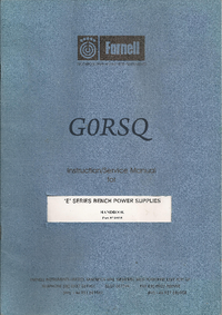 Manuale di servizio Farnell GORSQ E SERIES