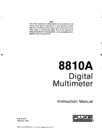 Service and User Manual Fluke 8810A