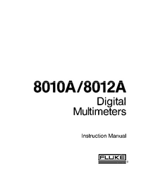 Service and User Manual Fluke 8012 A