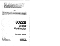 Serviço e Manual do Usuário Fluke 8022B