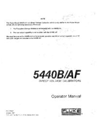 Manuel de l'utilisateur Fluke 5440B/AF