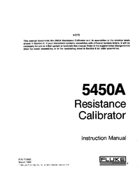 Service and User Manual Fluke 5450A