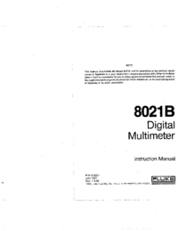 Fluke 8021B Digital multimeter Service and User Manual