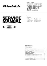 Руководство по техническому обслуживанию Friedrich MS24Y3F