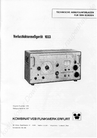 Serviço e Manual do Usuário Funkwerk 1033