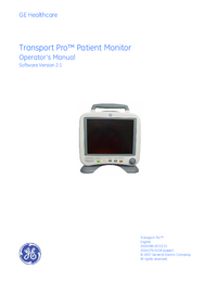 Manuale d'uso GEHealthcare Transport Pro