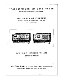 Service and User Manual Geloso G 4 / 228 MK II