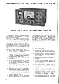 Servicio y Manual del usuario Geloso G 212-TR