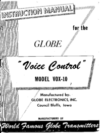 Service and User Manual Globe Voice Control VOX-10