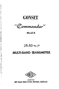 Service and User Manual Gonset Commander Model B