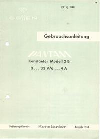 User Manual with schematics Gossen 2B