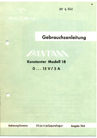 User Manual with schematics Gossen 1B