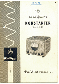 User Manual Gossen Konstanter