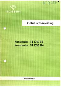Instrukcja obsługi Gossen T4 K16 B8