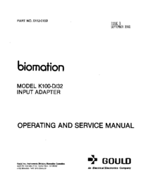 Обслуживание и Руководство пользователя Gould K100-D/32