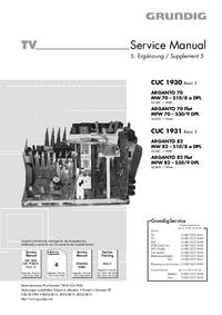 Manual de serviço Grundig ARGANTO 70 Flat MFW 70 – 530/9 DPL