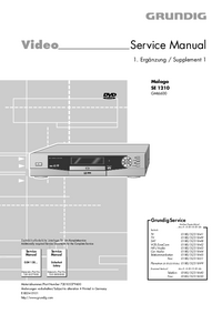 Service Manual Supplement Grundig Malaga SE 1210