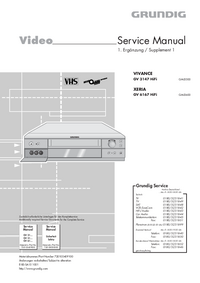 Service Manual Supplement Grundig XERIA GV 6167 HiFi
