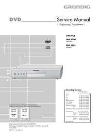 Service Manual Supplement Grundig LIVANCE GDP 3205