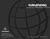 User Manual Grundig CLASSIC 960 ANNIVERSARY EDITION