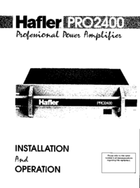 User Manual Hafler Pro2400