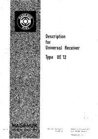 Service- und Bedienungsanleitung Hagenuk UE 12