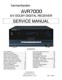 Service Manual HarmanKardon AVR7000